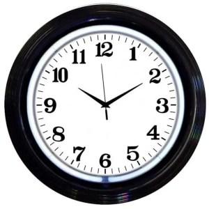 ALPHANUMERIC – BLACK RIM WHITE NEON CLOCK – 8BANDW   moneymachines.com