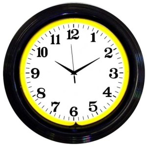 ALPHANUMERIC – BLACK RIM YELLOW NEON CLOCK – 8BANDY | moneymachines.com