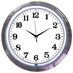 ALPHANUMERIC – CHROME RIM WHITE NEON CLOCK – 8CHRCW   moneymachines.com