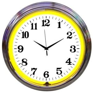 ALPHANUMERIC – CHROME RIM YELLOW NEON CLOCK – 8CHRCY   moneymachines.com