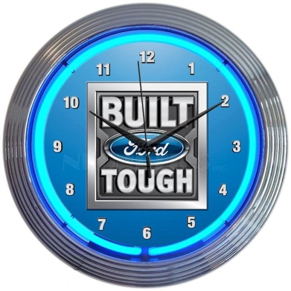 AUTO – FORD – BUILT FORD TOUGH NEON CLOCK – 8FRBFT   moneymachines.com