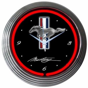 AUTO – FORD MUSTANG RED NEON CLOCK – 8MUSTANG | moneymachines.com