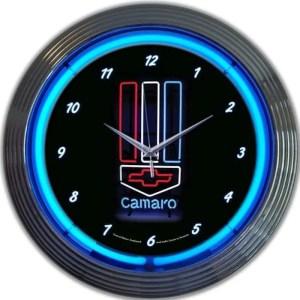 AUTO – GM – CAMARO RED, WHITE AND BLUE NEON CLOCK – 8CAMRWB   moneymachines.com