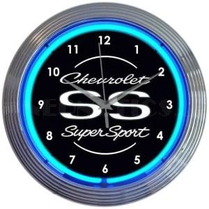 AUTO – GM – CHEVROLET SS SUPER SPORT BLUE NEON CLOCK – 8CHVSS   moneymachines.com