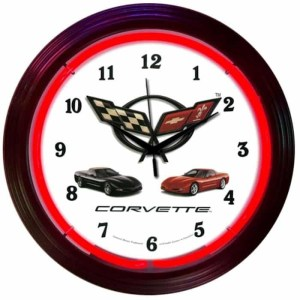 AUTO – GM – CORVETTE C5 NEON CLOCK – 8CORVX   moneymachines.com
