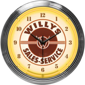 AUTO – JEEP WILLYS SALES SERVICE NEON CLOCK – 8JEEPW | moneymachines.com