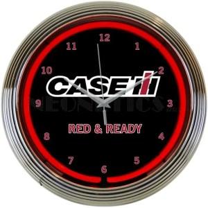 CASE IH RED AND READY NEON CLOCK – 8CASEC | moneymachines.com