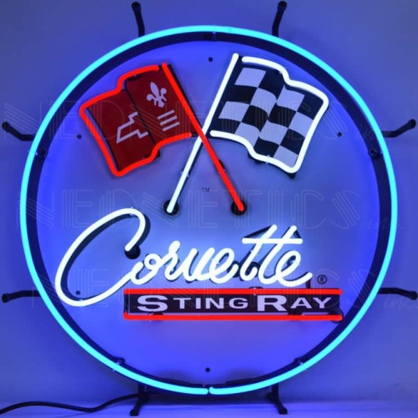 CORVETTE C2 STINGRAY ROUND NEON SIGN WITH BACKING – 5CORC2 | moneymachines.com