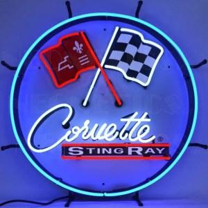 CORVETTE C2 STINGRAY ROUND NEON SIGN WITH BACKING – 5CORC2 | moneymachines.com