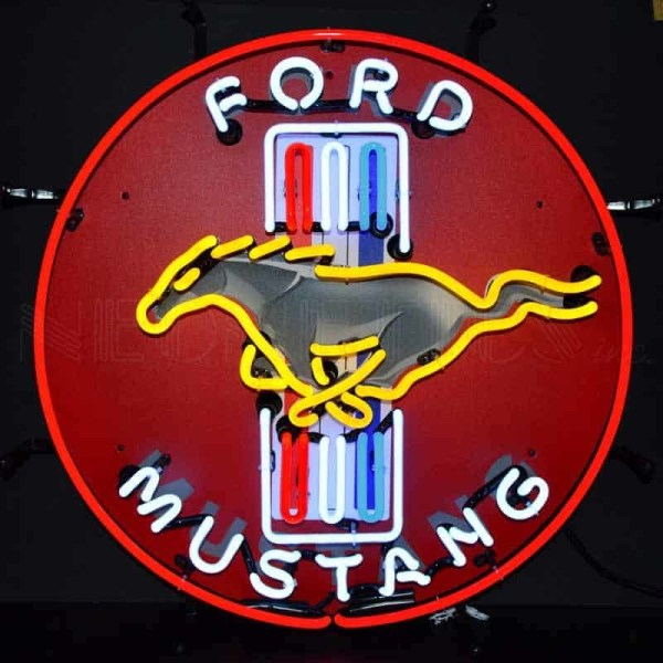 FORD MUSTANG RED NEON SIGN WITH BACKING – 5MUSTB | moneymachines.com