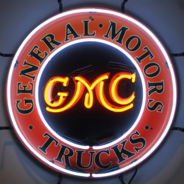 GMC TRUCKS NEON SIGN WITH BACKING – 5GMCBK | moneymachines.com