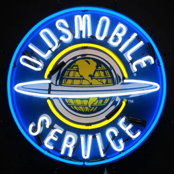OLDSMOBILE SERVICE SIGN WITH BACKING NEON SIGN – 5OLDBK | moneymachines.com
