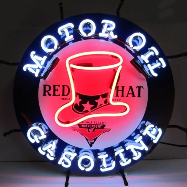 RED HAT MOTOR OIL NEON SIGN – 5GSRHT | moneymachines.com