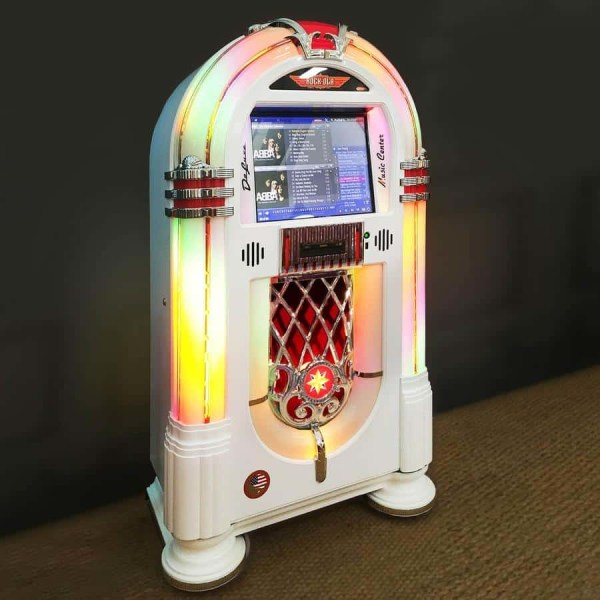 Rock-Ola Music Center Jukebox In White | moneymachines.com