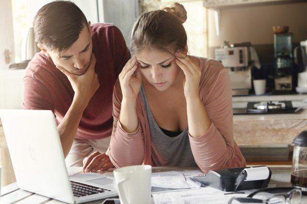 Couple stressing over finances