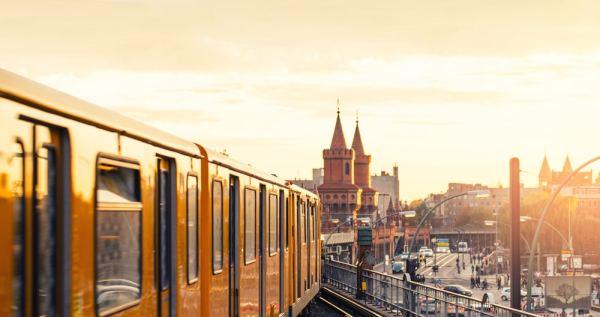 Berlin train at sunset