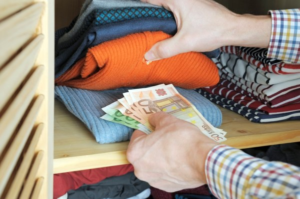 Hiding money amongst clothes