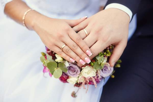 Couple on wedding day wearing wedding rings