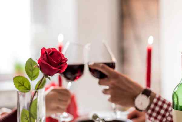 Couple clinking wine glasses at romantic meal
