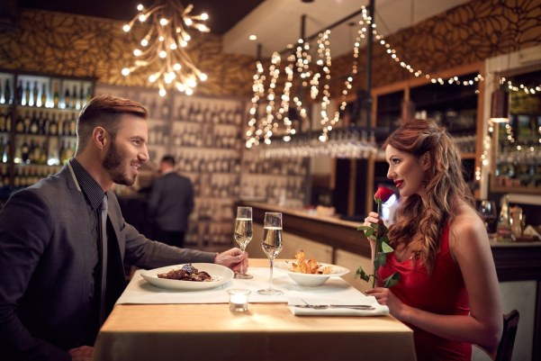 Couple on a romantic dinner date