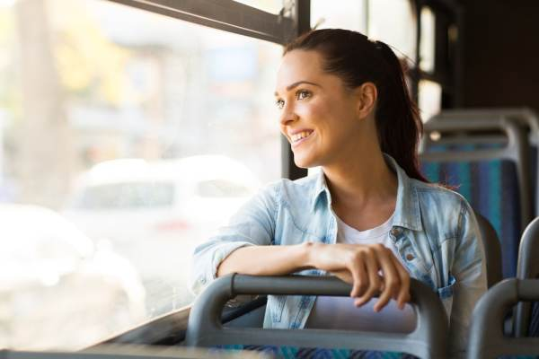 Woman on a bus