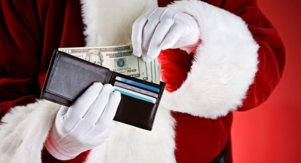 Santa with money in his wallet