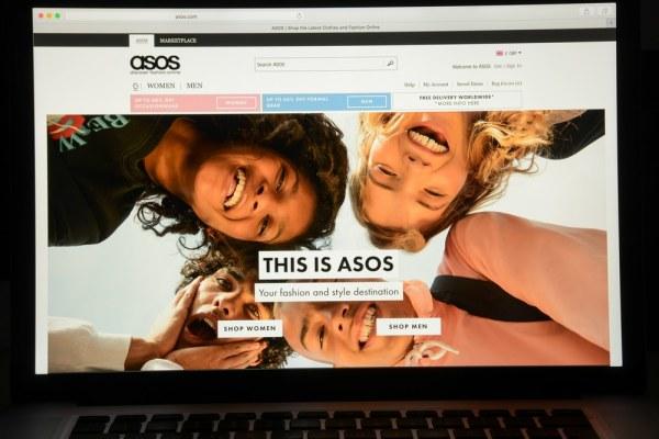 ASOS website on laptop