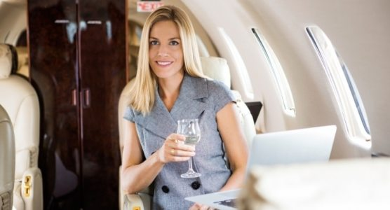 Woman in first class