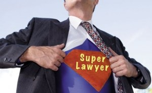 Lawyer with shirt saying super lawyer