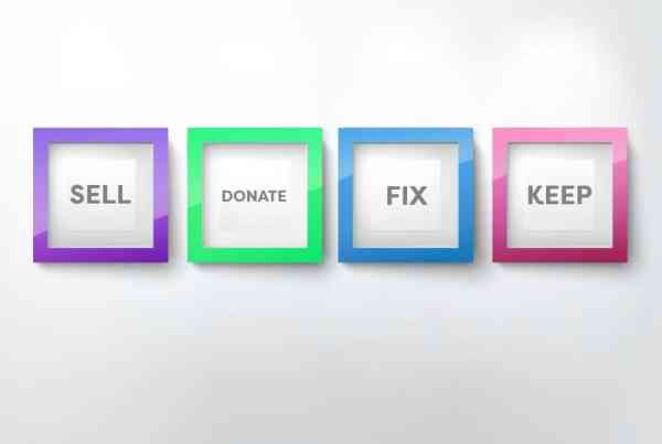 decluttering categories, sell, donate, fix and keep