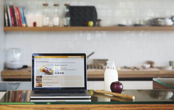 Laptop showing baking website