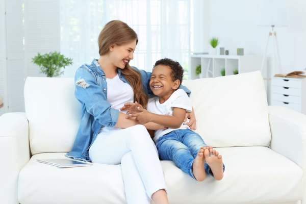 Young woman with foster son