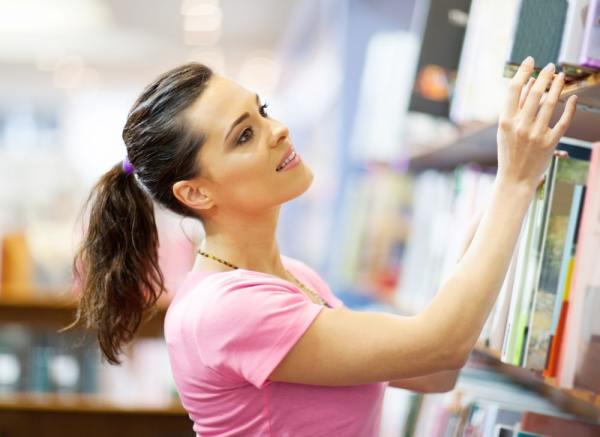 Woman book shopping