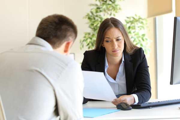 Sceptical female interviewer