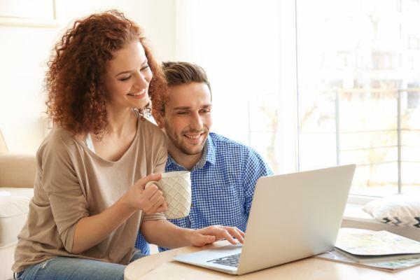 Couple browsing internet