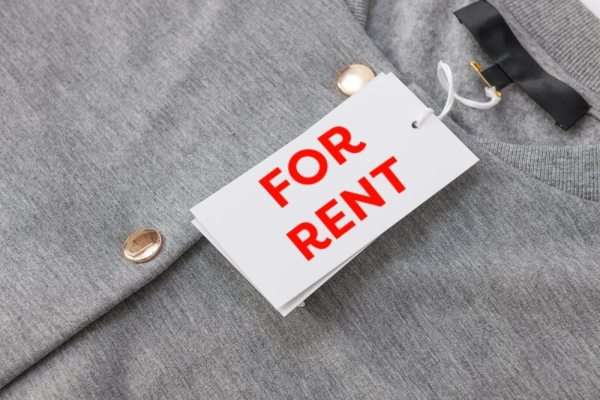 "Clothing with ""For Rent"" tag"