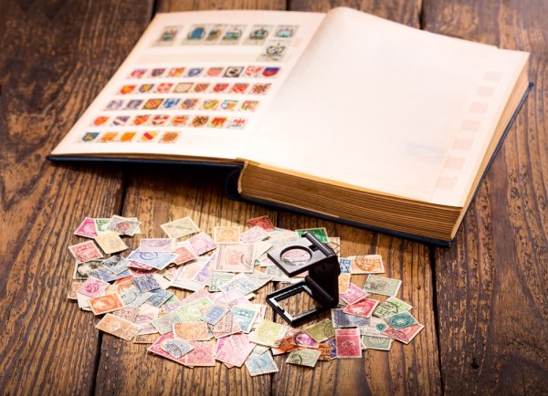Stamp Collection with Magnifyer