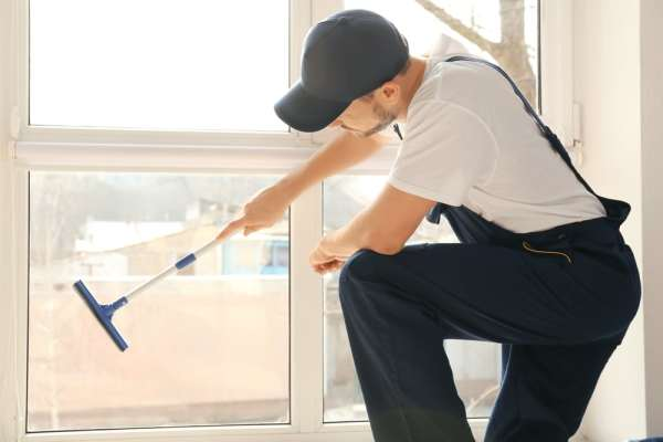 Male window cleaner