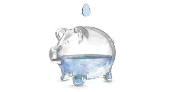 Glass piggy bank filled with water