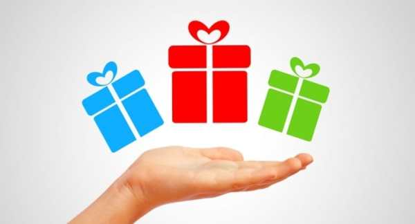 hand with gifts graphic