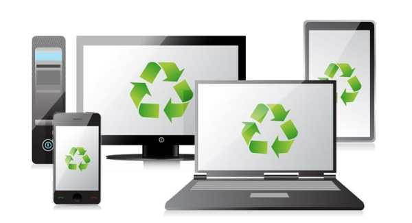 Gadgets with recycle symbol on