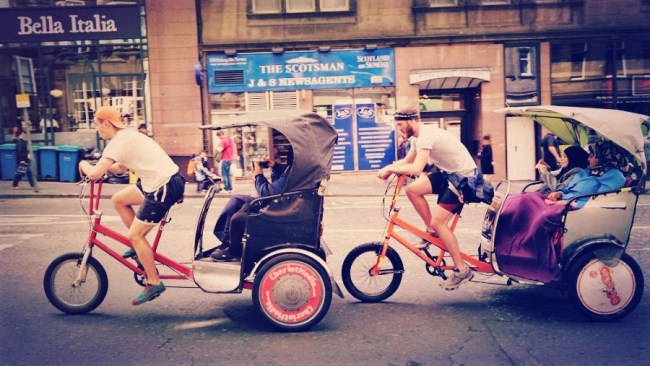 two pedicab drivers in the uk