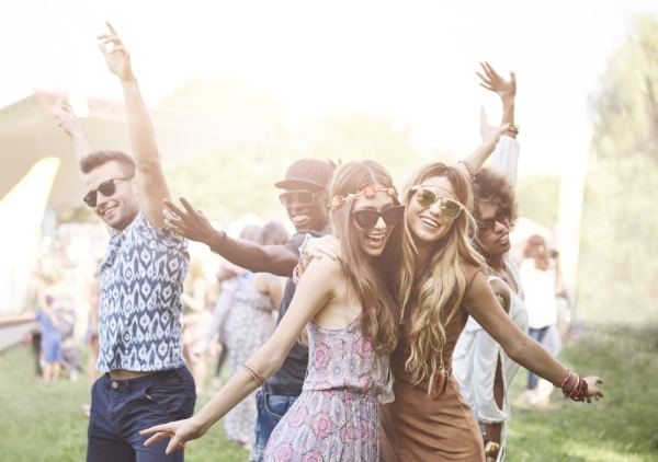 Happy festival go-ers