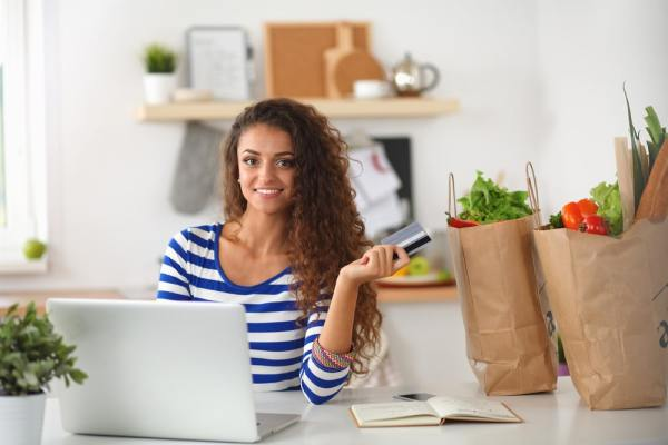 Woman doing her food shopping online