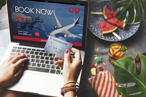 Booking flights online with a credit card