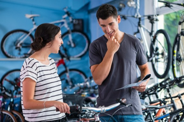 Couple buying a bicycle