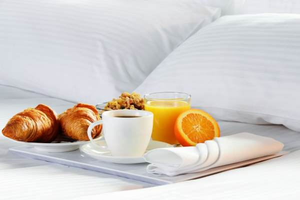 Breakfast on a bed
