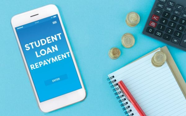 Student loan repayment app on mobile phone