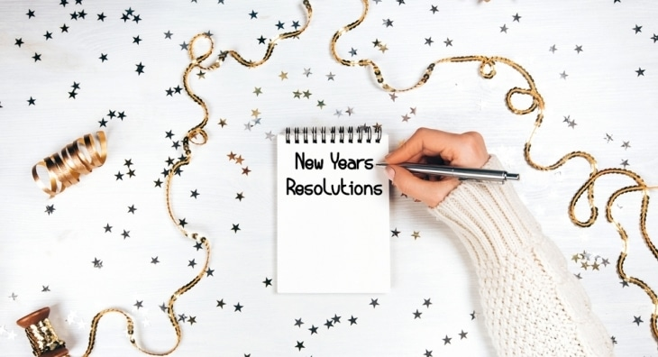 New Years Resolutions on notepad