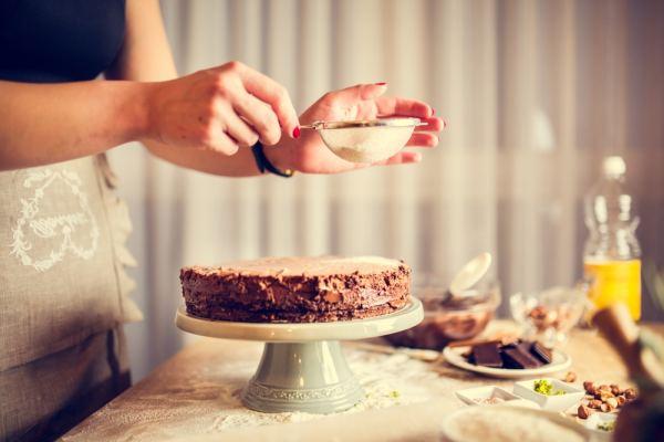 Woman making a cake